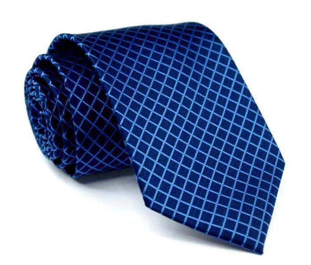 Men Narrow Navy Blue Check Woven Silk Tie Regular Soft Business Big Boys Necktie by Kihatwin (Image #2)
