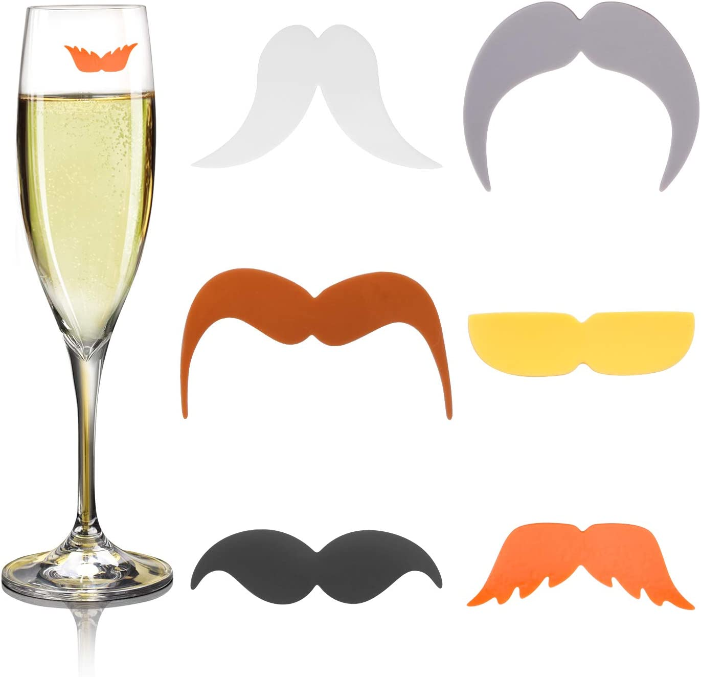 Wine Glass Markers, 6pcs Silicone Beard Style Drink Glass Markers Wine Glass Identifier Recognizer for Party Bar Table Decorations Home Use