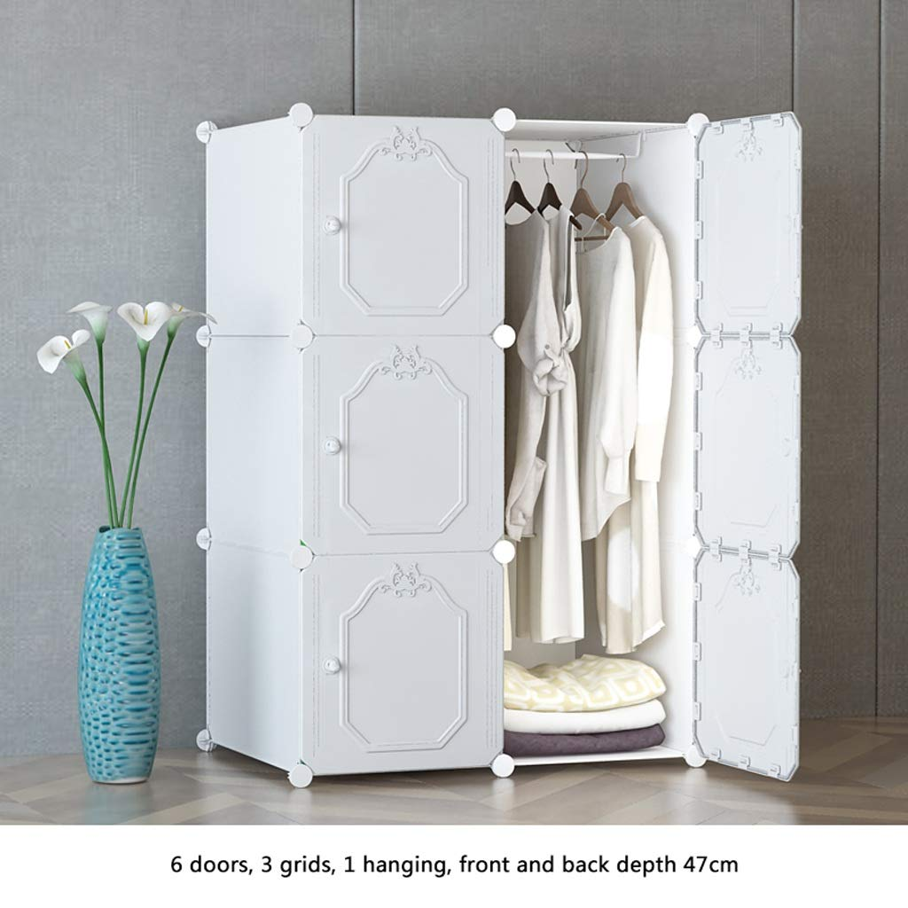 Ultra Time Empty Wardrobe Clothes Portable Wardrobe Closet Modular Storage Organizer Space Saving Armoire Deeper Cube with Hanging Rod 6 Doors by Ultra Time Empty
