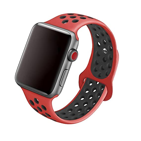 5Daymi Soft Silicone Replacement Band for Apple Watch Nike + Series 3, Series 2, Series 1 (Red/Black,38mm-M/L)