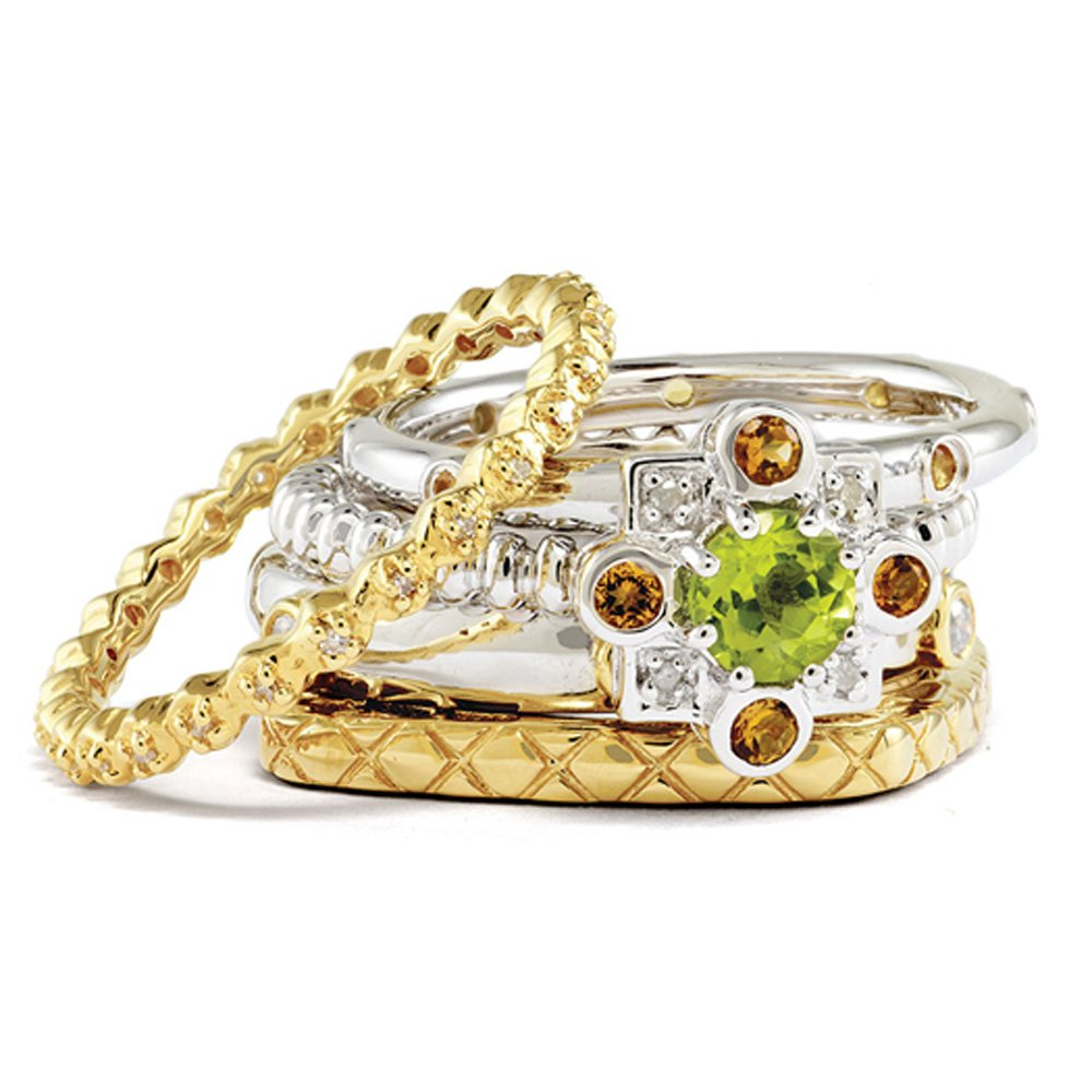 Sterling Silver/14K Gold Plated Stackable Golden Dreams Ring Set Sz 9