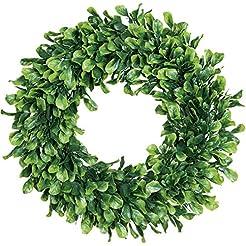 Lvydec Artificial Green Leaves Wreath - ...