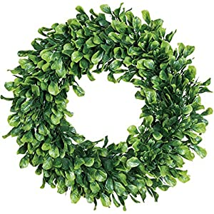 Lvydec Artificial Green Leaves Wreath – 15″ Boxwood Wreath Outdoor Green Wreath for Front Door Wall Window Party Décor