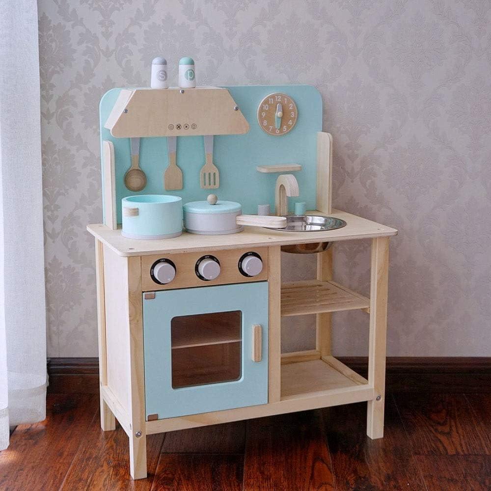 ままごと遊び キッチンセット パズル子供は玩具セット調理器具アクセサリーを調理キッチンセット木製リトルシェフごっこ遊びキッチンインテリジェント玩具キッチンプレイセットのために幼児ピンクブルーを再生します ごっこ遊び 知育玩具 (Color : Blue, Size : 68x30x55cm)