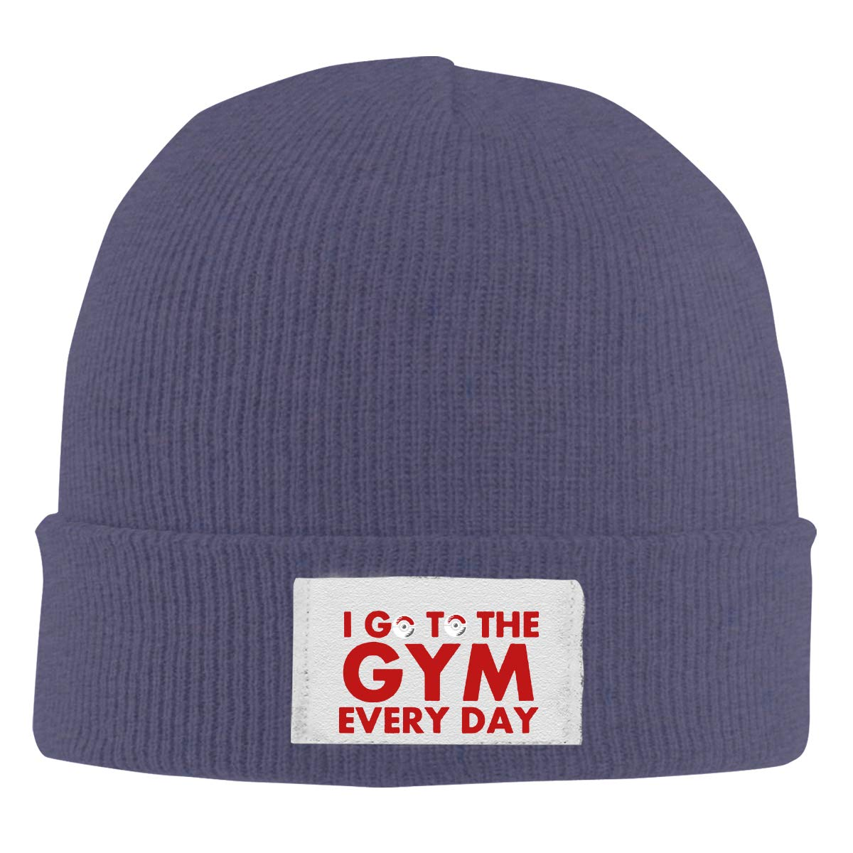 Stretchy Cuff Beanie Hat Black Skull Caps I Go to The Gym Every Day Winter Warm Knit Hats