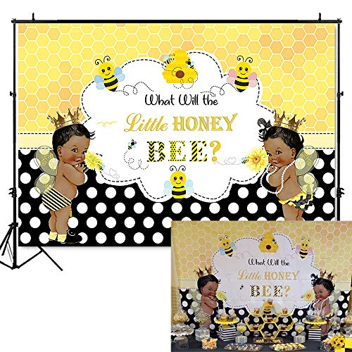 Mehofoto Bee Gender Reveal Backdrop What Will Little Honey Bee Photography Background 7x5ft Vinyl Bees Baby Gender Reveal Party Banner Backdrops -