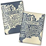 Couple Passport Covers for women and men, by Govinda Crafts, Eco Leather Passport Holder (USA Map)