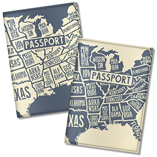 Couple Passport Covers for women and men, by Govinda Crafts, Eco Leather Passport Holder (USA Map) by Govinda Crafts