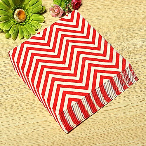 BoatShop 24 PCS Colored Wave Pattern Paper Napkins 2 Layers Party Banquet, Red by BSK