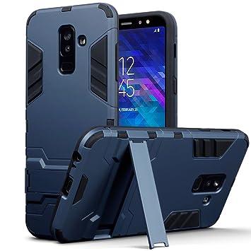 TERRAPIN Funda Compatible con Samsung Galaxy A6 Plus 2018 Carcasa Híbrida de Silicona + Polycarbonato Doble Resistencia, y Soporte para Mesa - Azul ...