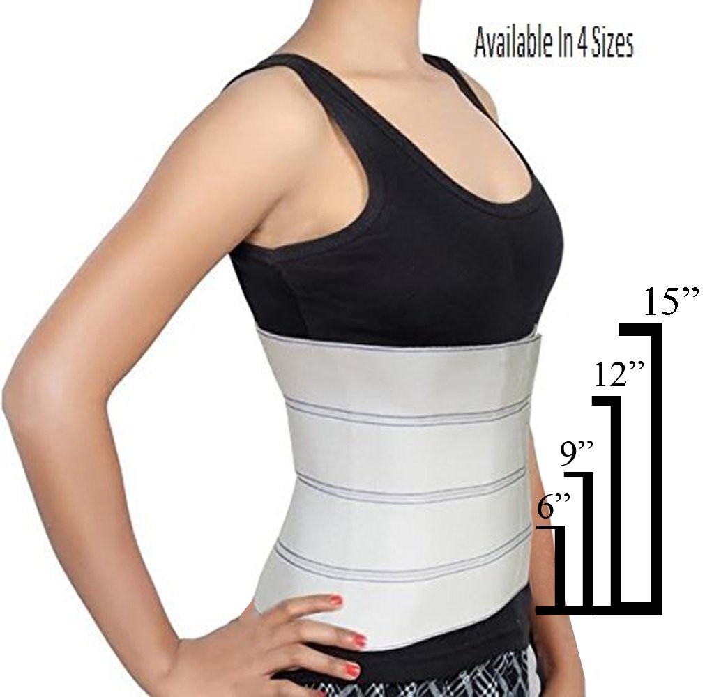 Abdominal Binder Support Post-Operative, Post Pregnancy And Abdominal Injuries. Post-Surgical Abdominal Binder Comfort Belly Binder (Medium (46'' - 62''), 12'' High)