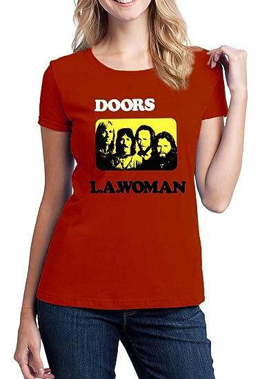 c71463fc Amazon.com: EmoBug The Doors L.A. Woman Band Music Group Jim Morrison Women's  T-Shirt: Clothing