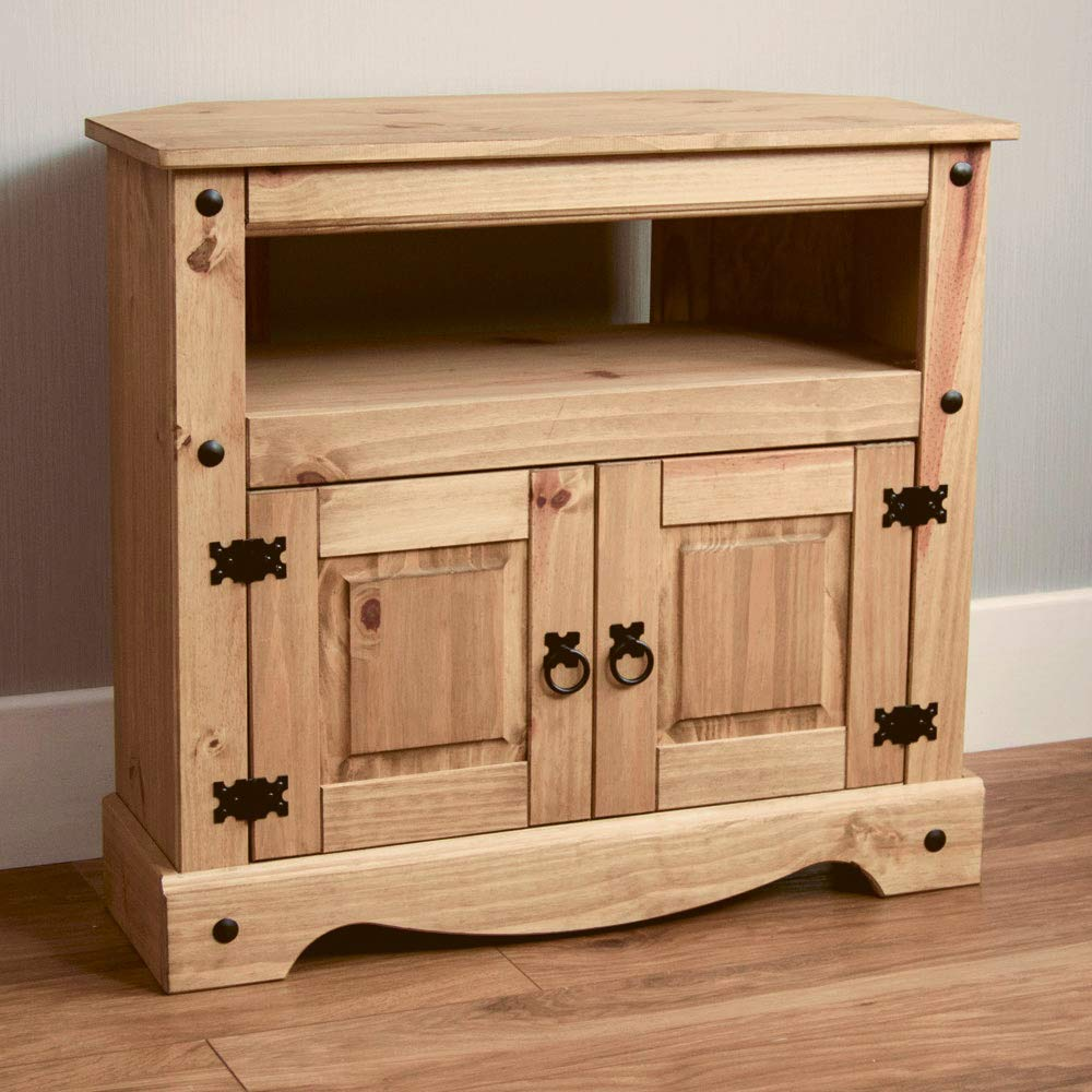 best website 47e10 490f3 Home Discount Corona TV Stand Corner Unit, Solid Pine Wood