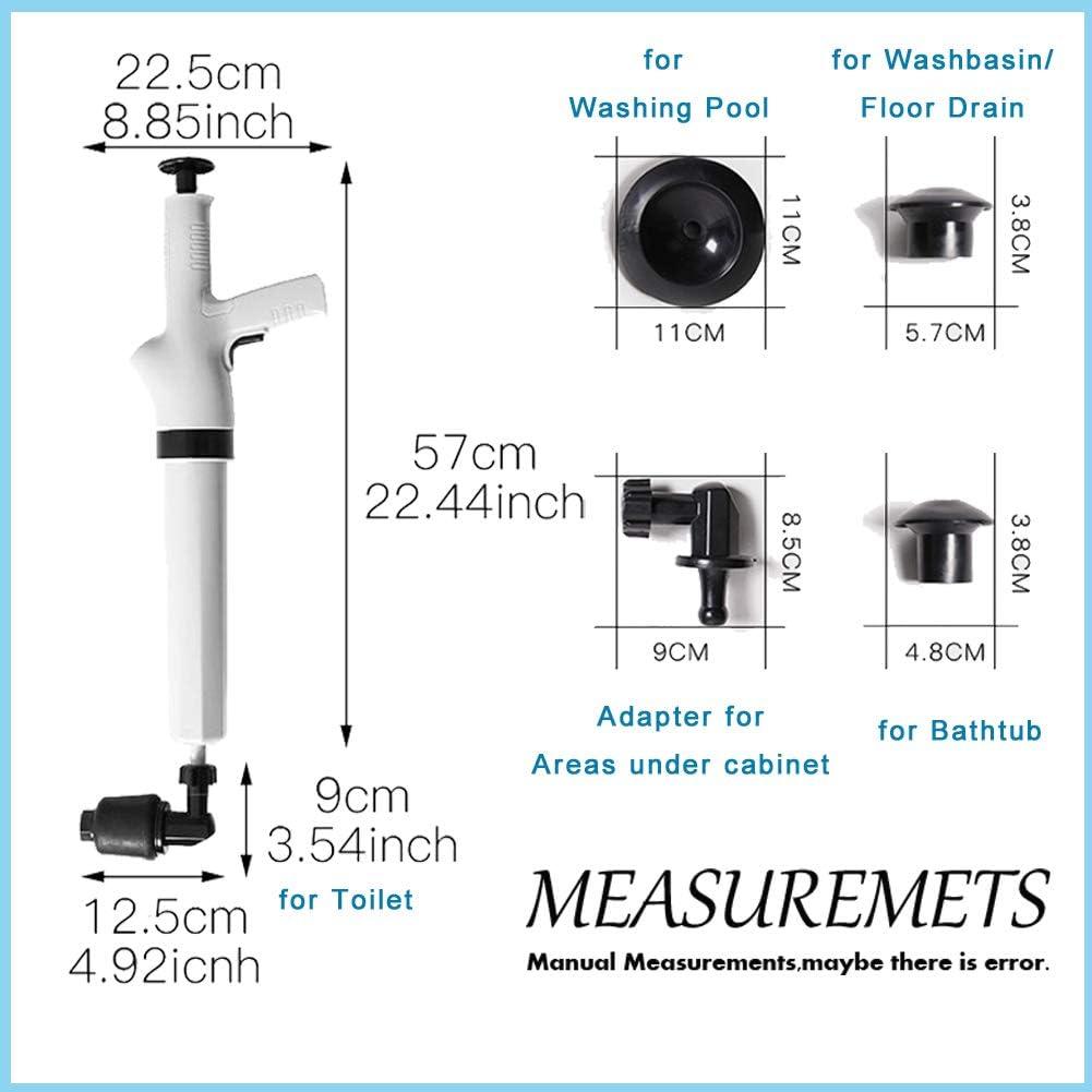 Air Power Bathroom Plunger Sink Powerful for Toilet Clogged Pipe High Pressure Air Power Drain Blaster Gun Bathtubs Floor Drain Toilet Plunger