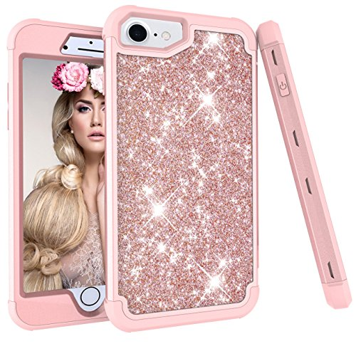iPhone 8 Case,iPhone 7 case, Ankoe 3D Luxury Glitter Sparkle Bling Shiny Hybrid Sturdy Armor Defender High Impact Shockproof Protective Cover Case for iPhone 7 iPhone 8 (Rose Gold) (9' Green Accent Plate)