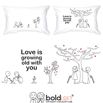 Amazon Com Boldloft Grow Old With You His And Hers Pillowcases 2nd