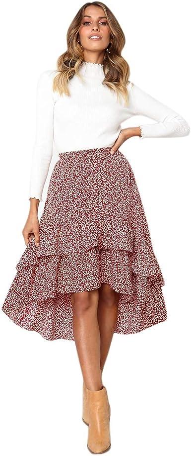 Cikuso Falda de mujer con diseño de lunares, cintura alta ...