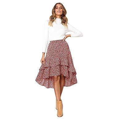 Timagebreze Falda Midi De Lunares De Moda Para Mujer Falda Larga ...