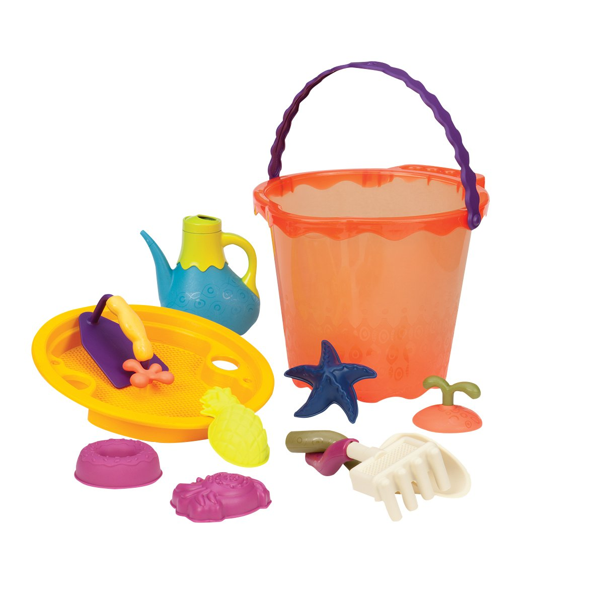 B. toys – Shore Thing – Large Beach Playset – Large Bucket Set (Papaya) with 11 Funky Sand Toys for Kids – Phthalates and BPA Free – 18 m+