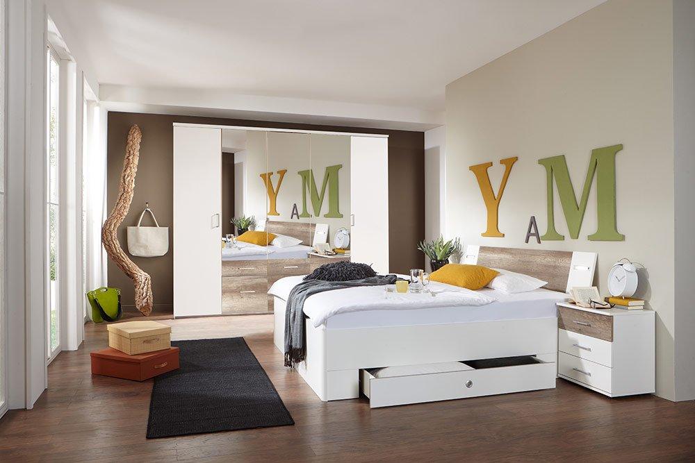 4-tlg-Schlafzimmer in Alpinweiß mit Absetzungen in Wildeiche-NB, Kleiderschrank B: 225 cm, Bett mit Schubkästen B: 180 cm, 2 Nachtschränke B 104 cm