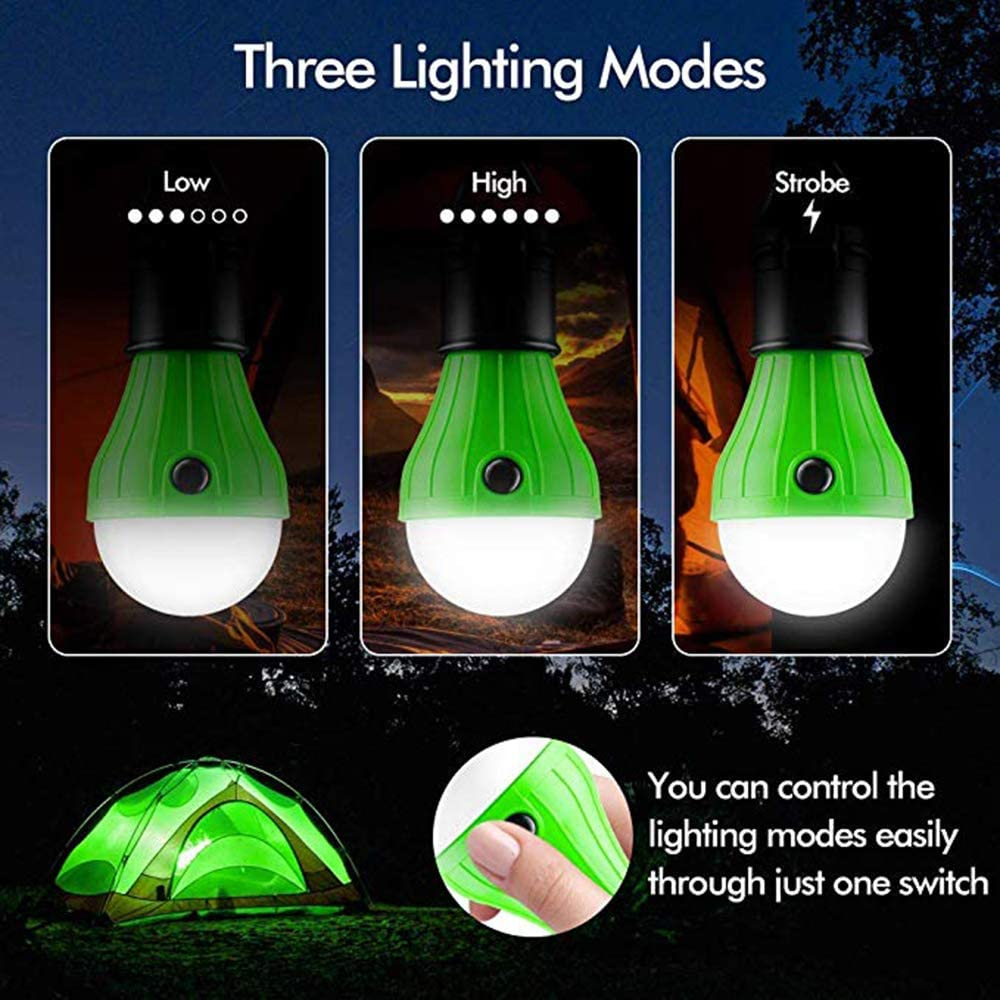 HODORPOWER LED Camping Lantern Color Hook Tent Lamp Emergency Bulb Light Outdoor Battery Operated Powered Waterproof Portable for Camping Storm Outage Fishing,Hurricane Black 3 Pack Hiking