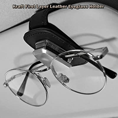 Dualshine Car Visor Sunglasses Leather Holder, Kraft First Layer Sunglasses Clip, Mounted with Ticket Card Clip, Suitable for All Models - Black - Light & Compact: Automotive