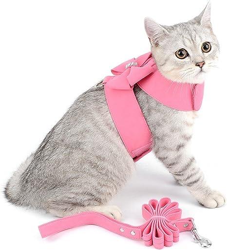 Ranphy Harnais pour Petit Chien Chat Doux en Daim Cuir Gilet Chiot avec Laisse Veste R/églable Bleu Taille S