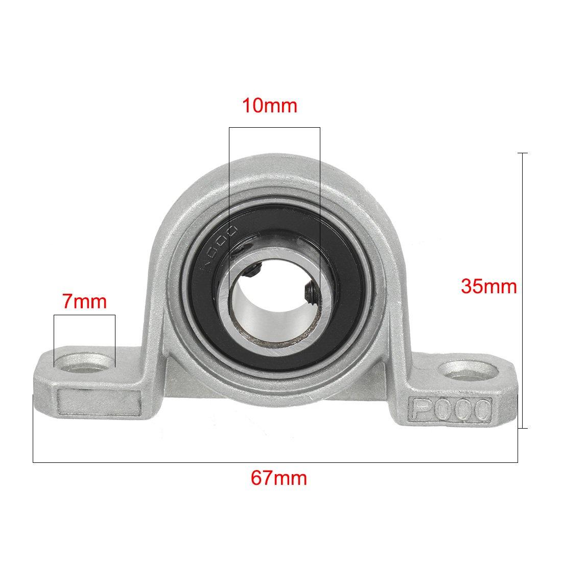 sourcing map 2pcs KP000 10mm Bore Zinc Alloy Inner Ball Mounted Pillow Block Insert Bearing