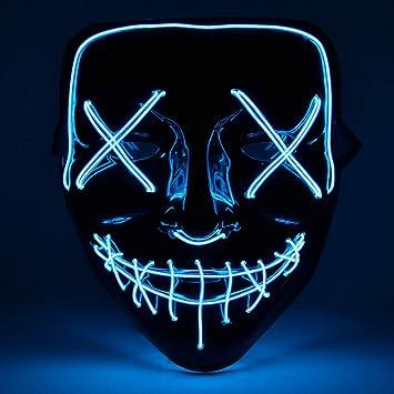 AUSHEN Halloween Máscara LED Ligero Gracioso Máscaras Estupendo Festival Cosplay Máscara Purga LED Máscara de Payaso (Azul)