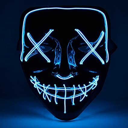 Jasmey Halloween Mask Light up Scary LED Mask Costume Mask for Festival Cosplay Halloween Parties