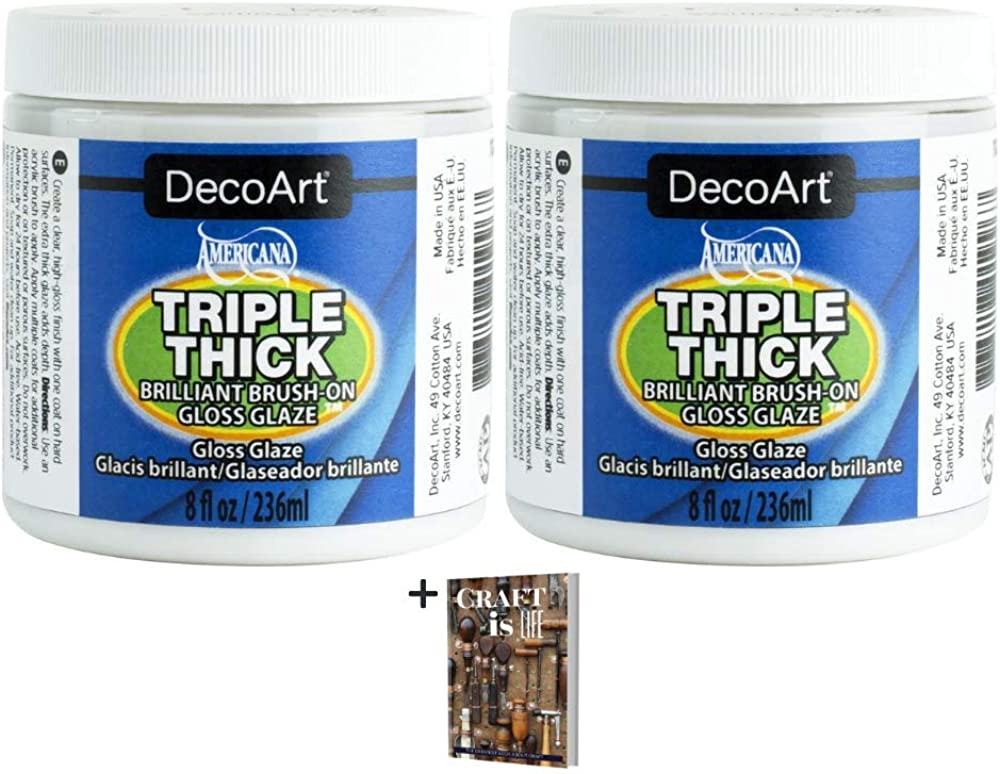 DecoArt Triple Thick Gloss Glaze - 2 Pack 8oz Brush On Luster Sheen Clear Coat Gloss Glaze for Home Decor, Wall Art, Art Projects, and DIY Crafts - Thick Smooth Coat Finish Gloss Clear Glaze + E-Book