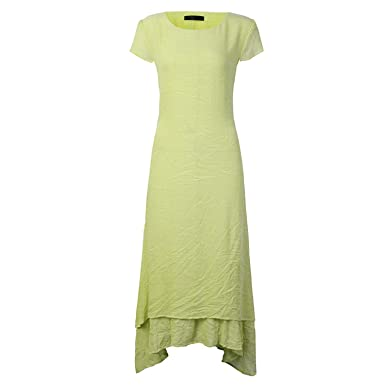 Oversized Casual Cotton Linen Long Dress Boho Vestidos Mujer de Festa ,Green,L
