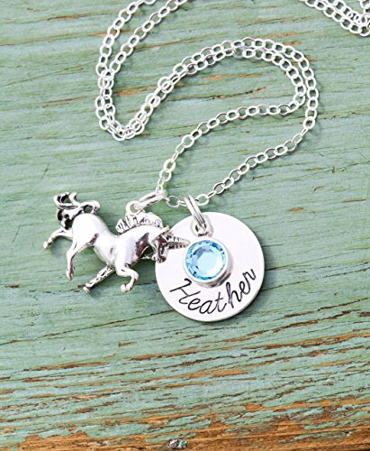 Personalized Unicorn Necklace - ROI - Custom Girls Name Cute Little Gift - Fairytale Mystical Horse - Swarovski Birthstone Crystal - 5/8 Inch Disc - Sterling Silver - Fast 1 Day Production -