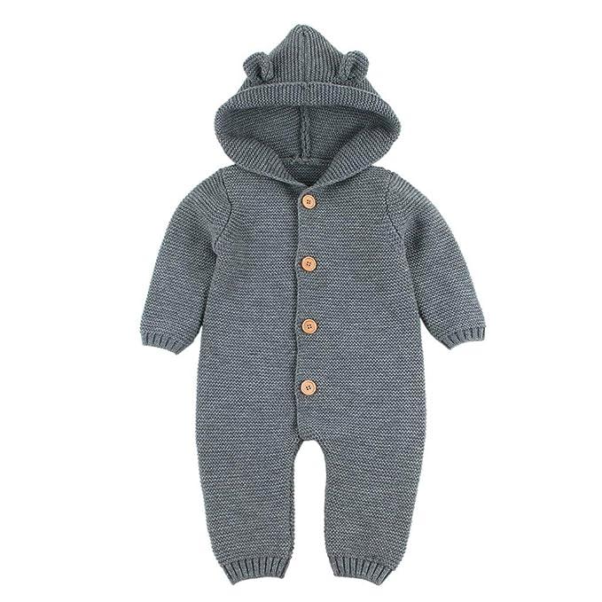 3dd9486b4 Knit Baby Romper,Lollyeca Newborn Boys Girls Ears Button Hoodie Winter  Jumpsuit (Gray,