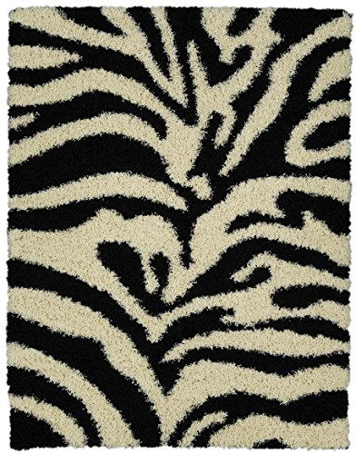 Sweet Home Stores Cozy Shag Collection Black and White Zebra Design Shag Rug (5'0 X 7'0) Contemporary Living and Bedroom Soft Shaggy Area Rug