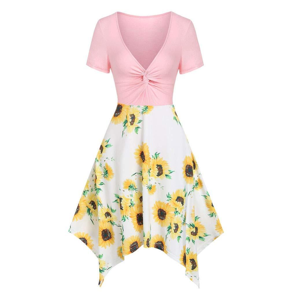 HULKY Women Floral Maxi Dress Bow Knot Bandage Top Sunflower Print Mini Dress Summer Short Sleeve Asymmetrical Casual Dress