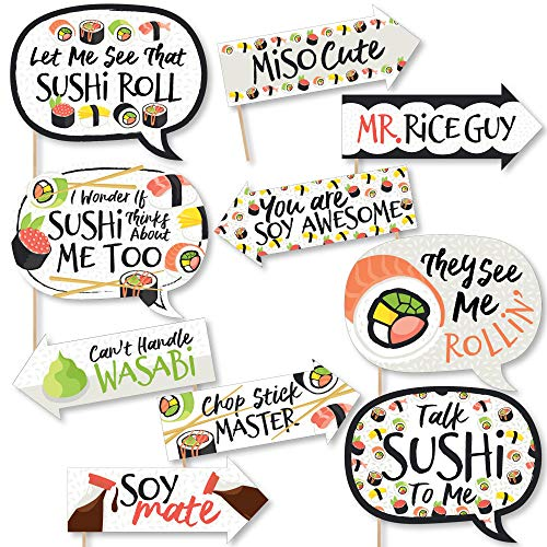 Funny Let's Roll - Sushi - Japanese Party Photo Booth Props Kit - 10 Piece]()