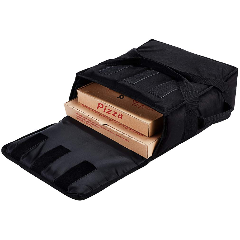 """Yopralbags Pizza Bag, Thermal Pizza Delivery Bags Insulated Commercial Food Delivery Bag Pizza Boxes Professional Polyester Warmer Carrier for 3-12"""" or 3-14"""" (Black, 15""""X15""""X7"""")"""