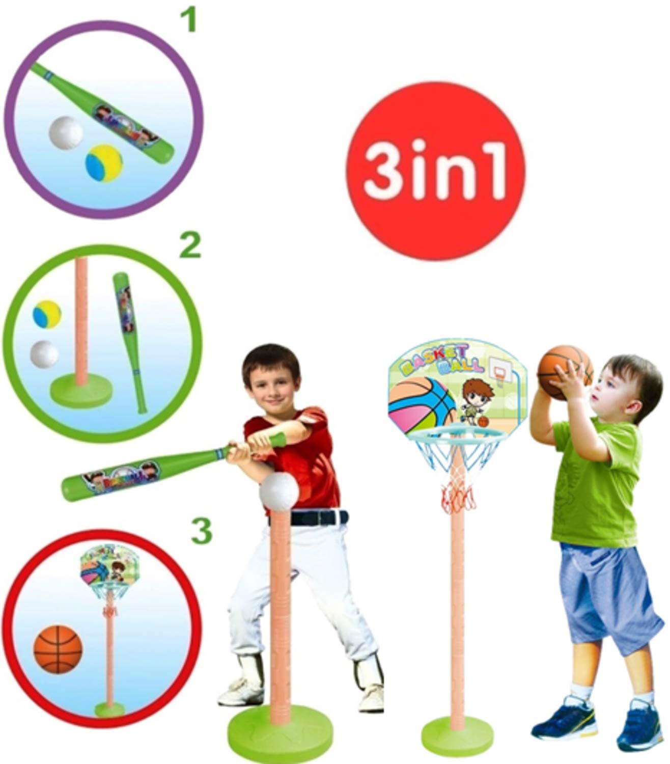 T- Ball Set Baseball Tee & Basketball Hoop for Kids 3-in-1, adjustible T - Starting kit for Toddler - Toy for Boys & Girls Age 3-5 Yrs Old - Perfect to Improve Batting & Aiming Skills by E&D Toys