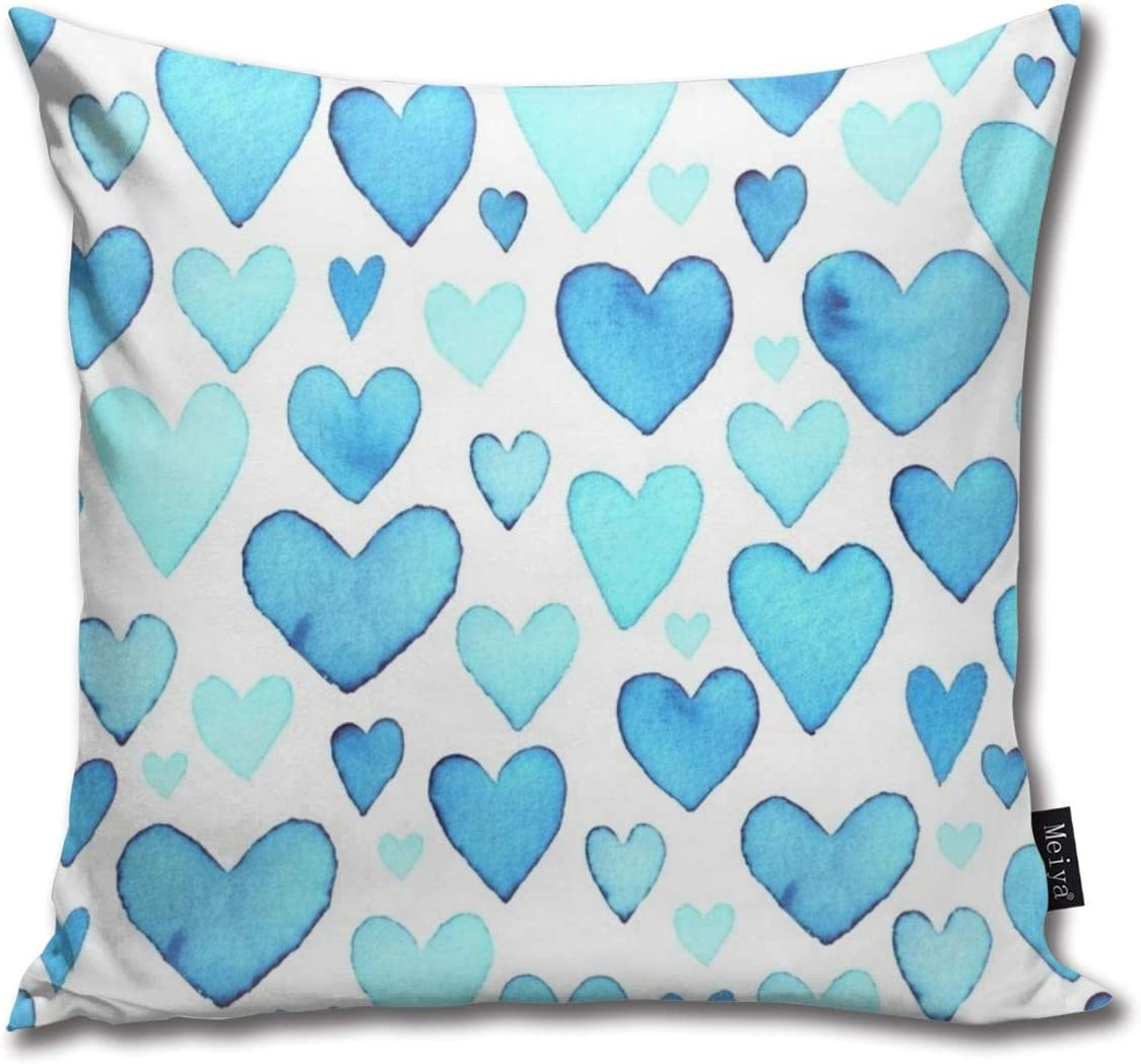 Liuzhis Heart Seamless Pattern Blue Watercolor Hearts Packaging Design Throw Pillow Case Cushion Cover Square Pillowcase 45x45cm Amazon Co Uk Kitchen Home