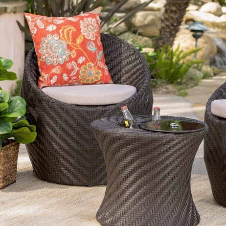 Belize Outdoor Brown Wicker Accent Table with Ice Bucket, Contemporary, Decorative, Elegant, Durable Iron, Sturdy Wicker, 300327