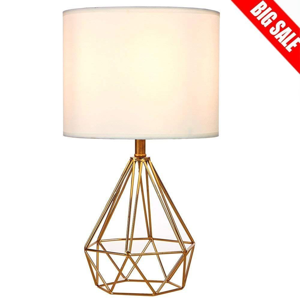 SOTTAE Modern Style Golden Hollowed Out Base Living room Bedroom Beside Table Lamp, Desk Lamp With White Fabric Shade