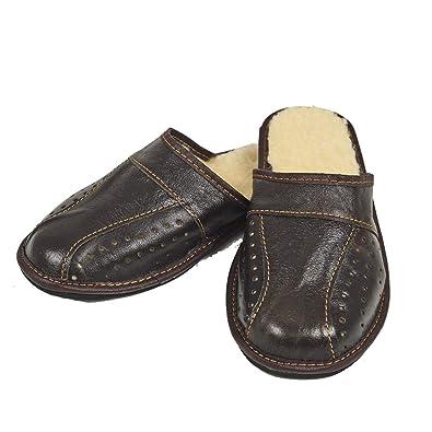 0c21e8825f93 DF-SOFT Herren Herrenpantoffel Pantoffel gefüttert Hausschuhe Haus Schuhe Leder  Pantoffel Lederpantoffel Pantoletten Schlappen Modell