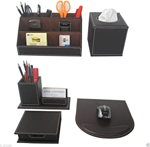 KINGFOM™ Office Desk Stationery Organizer 5 pcs/set, Tissue Box Cover, Mouse Pad, Pencil&Cards Holders, Self-stick Note Pads Holder (T50-5-Brown)
