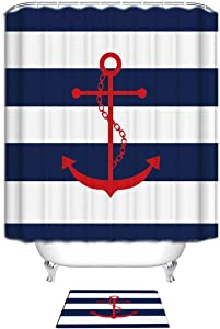 Z&L Home Bathroom Sets with Shower Curtain and Rugs -Personalized Red Nautical Anchor Navy Blue and White Stripes 60x72inches