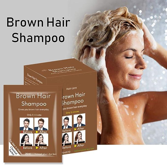 Mounsii Disaar Brown Hair Shampoo Coloración rápida Fácil de ...