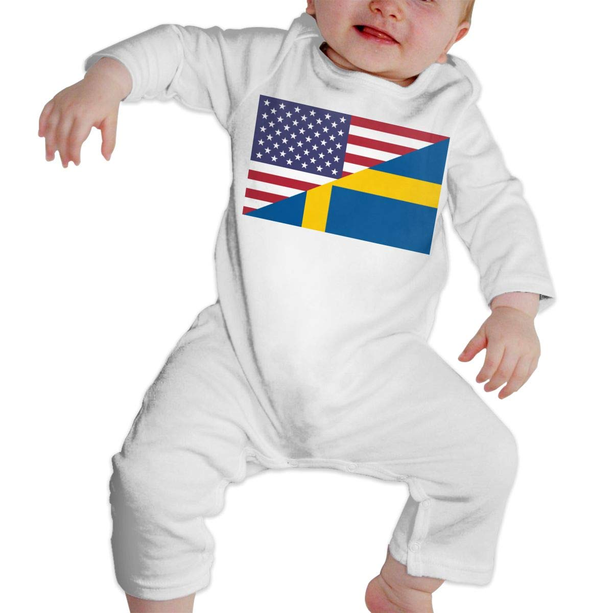 A1BY-5US Newborn Baby Boys Girls Cotton Long Sleeve Swedish American Flag Romper Bodysuit One-Piece Romper Clothes