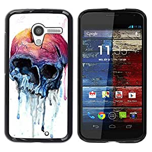 Shell-Star Arte & diseño plástico duro Fundas Cover Cubre Hard Case Cover para MOTO X / XT1058 / XT1053 / XT1052 / XT1056 / XT1060 / XT1055 ( Apple Skull Watercolor Blue Health )