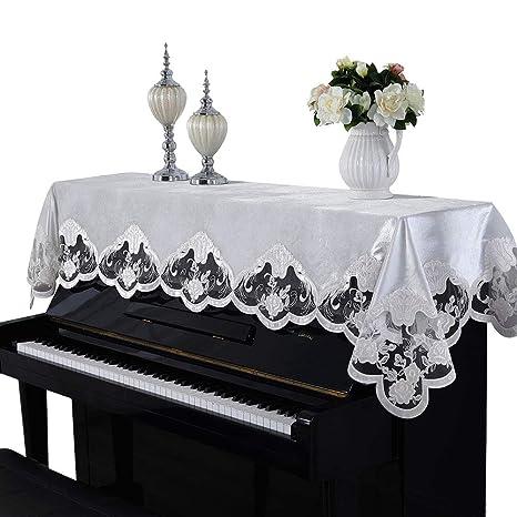 Camino de mesa de tela de encaje para piano, decorado con ...