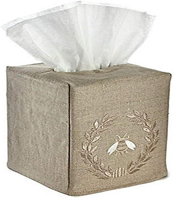 Jacaranda Living Natural Linen Tissue Box Cover Napoleon Bee Wreath Beige Home Kitchen Amazon Com